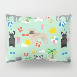 French Bulldog summer beach dog breed gifts frenchies pet portrait tropical palm trees Pillow Sham