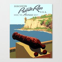 Vintage Discover Puerto Rico WPA Travel Canvas Print