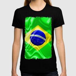 Brazil Flag Waving Silk Fabric T-shirt
