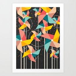Colourful Pinwheels Art Print