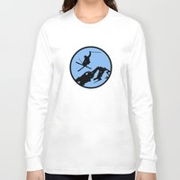 skiing Long Sleeve T-shirts featuring skiing 3 by Paul Simms