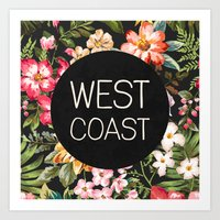 west coast Art Prints featuring West Coast by Text Guy