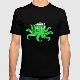 octopus toon cute funny green whistle T-shirt