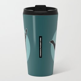 ILY - I Love You - Sign Language - Black on Green Blue 06 Travel Mug