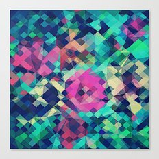 Fruity Rose - Fancy Colorful Abstraction Pattern Design (green pink blue) Canvas Print