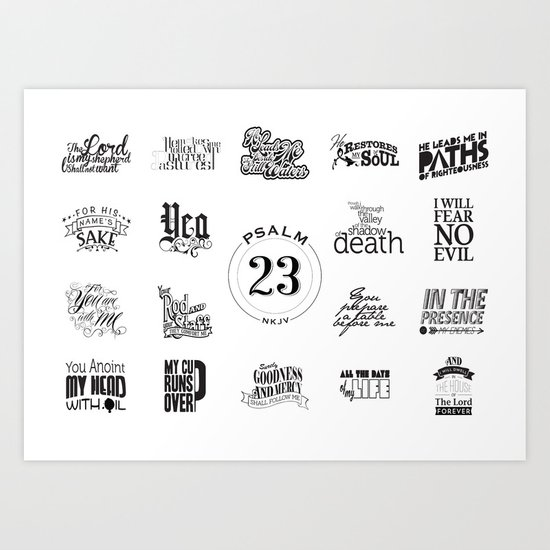Typography Motivational Christian Bible Verses Poster - Psalm 23 by thewoodentree
