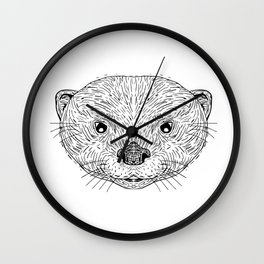 Asian Small-Clawed Otter Head Drawing Wall Clock
