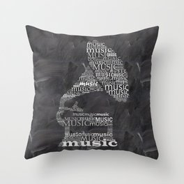 Gramophone on chalkboard Throw Pillow