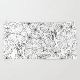 Botanical Black and White Pattern Beach Towel