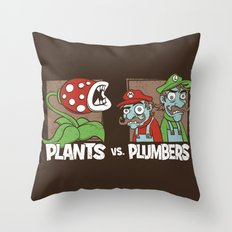 Plants Vs Plumbers  Throw Pillow