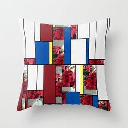 Mixed color Poinsettias 3 Art Rectangles 4 Throw Pillow