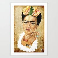 frida khalo Art Prints featuring Frida Khalo. Pies, para que os quiero, si tengo alas para volar. by menchumenchu