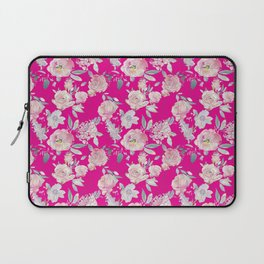 Hot magenta pink watercolor floral painted blush roses pattern Laptop Sleeve