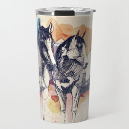 Two Horses (Standing) Travel Mug