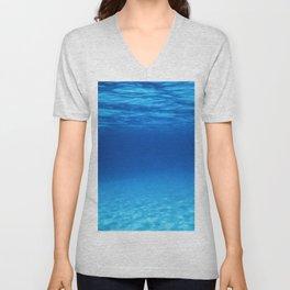Underwater Blue Ocean, Sandy sea bottom Underwater background Unisex V-Neck