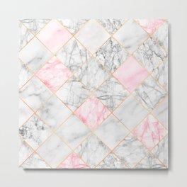 Rose Gold Marble Diamonds Metal Print