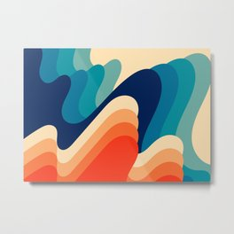 Retro 70s and 80s Abstract Art Mid-Century Waves  Metal Print