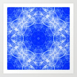 Fractal lace mandala in blue and white Art Print