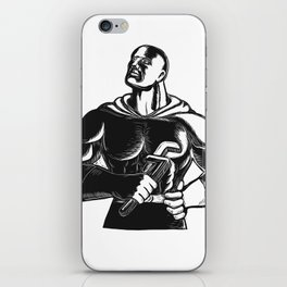 Superhero Plumber With Wrench Woodcut iPhone Skin