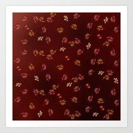Burgundy Leaves and Berries Art Print