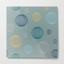 Striped pastel bubbles on teal Metal Print