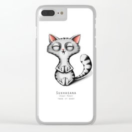 yoga cat sukhasana Clear iPhone Case
