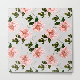Pattern peonies and golden triangles Metal Print