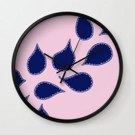Indigo Petals Wall Clock