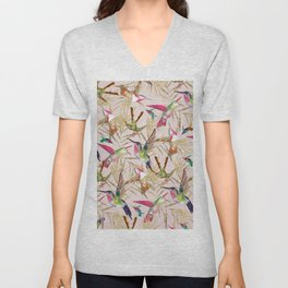Colorful pink green hummingbird faux gold floral Unisex V-Neck