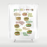biology Shower Curtains featuring Bagel Biology by Faye Finney