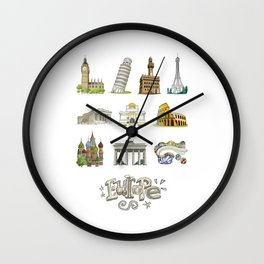 Europe with significant buildings Wall Clock