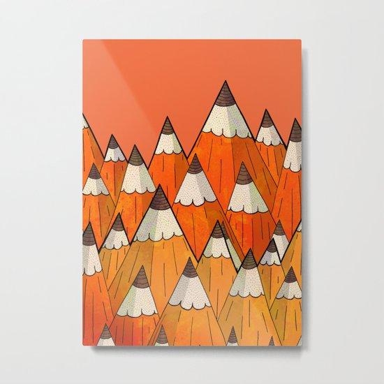Pencil Mountains Metal Print