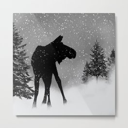 Moose in snow Metal Print
