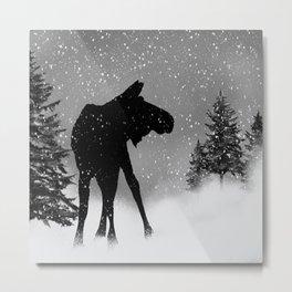 Moose in snow Metal Print