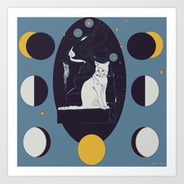 Kitty Ascension Moon Phase in Muted Blue Art Print