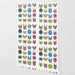 Cute cartoon Monsters Set. Big collection on white background Wallpaper