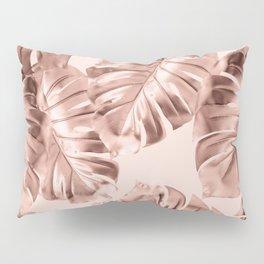 Rose Gold Monstera Leaves on Blush Pink 2 Pillow Sham