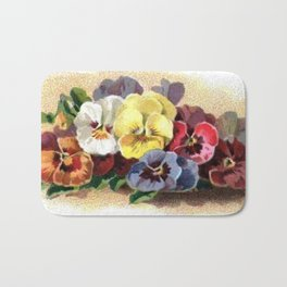 Vintage Pansies Bath Mat