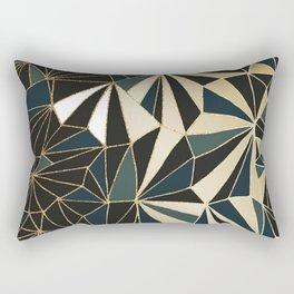 New Art Deco Geometric Pattern - Emerald green and Gold Rectangular Pillow