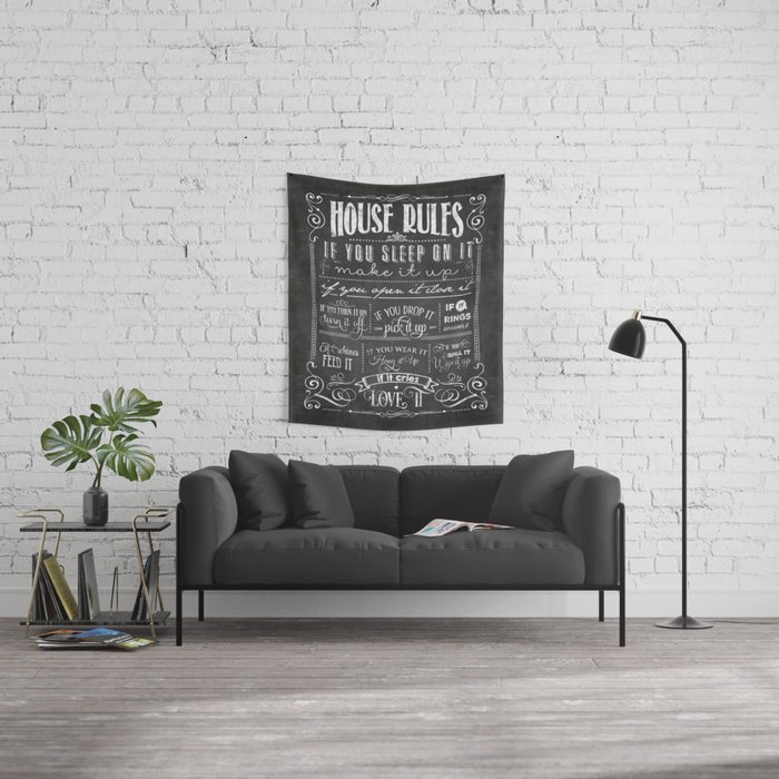 House Rules Retro Chalkboard Wall Tapestry