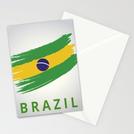Abstract Brazil Flag Design Stationery Cards