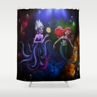 ursula Shower Curtains featuring NOW SING!  Ursula and Ariel by Chris Thompson, ThompsonArts.com