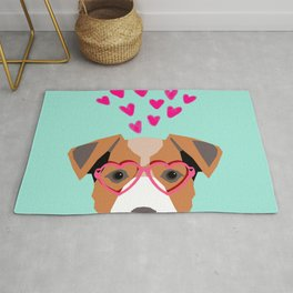 Jack Russell Terrier valentines day hearts love dog lover dog person gifts for valentine Rug