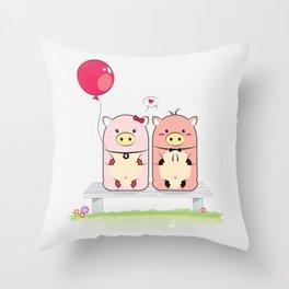 Piggie Couple Throw Pillow