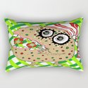 Christmas Fruitcake Monster, green lattice background by amygale