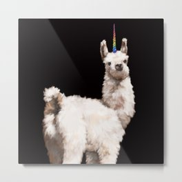 Unicorn Baby Llama in Black Metal Print
