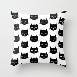 Cat Head - Black and White, Minimal, Monochrome, Animal, Kitty Simple Design Throw Pillow