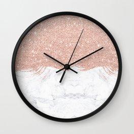 Trendy modern faux glitter rose gold brushstrokes white marble  Wall Clock