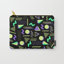 Geometrical retro lime green neon purple 80's abstract pattern Carry-All Pouch