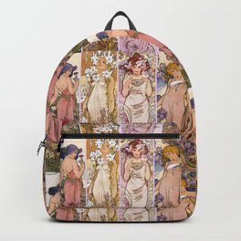 "Alfons Mucha, "" four flowers "" Backpack"